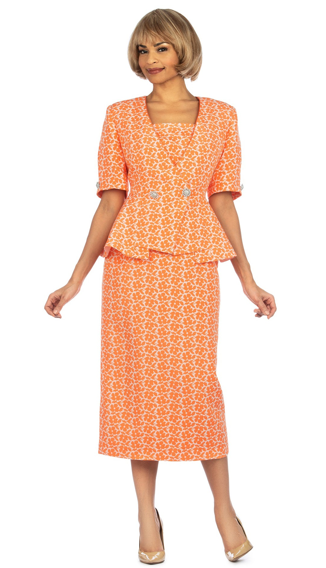 Giovanna Suit 0939-Orange - Church Suits For Less