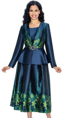 Giovanna Suit G1067-Navy/Green - Church Suits For Less