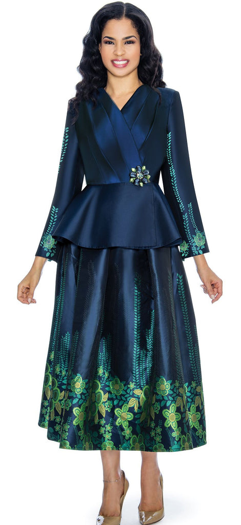 Giovanna Suit G1068-Navy/Green - Church Suits For Less