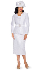 Giovanna Church Suit G1083-White - Church Suits For Less