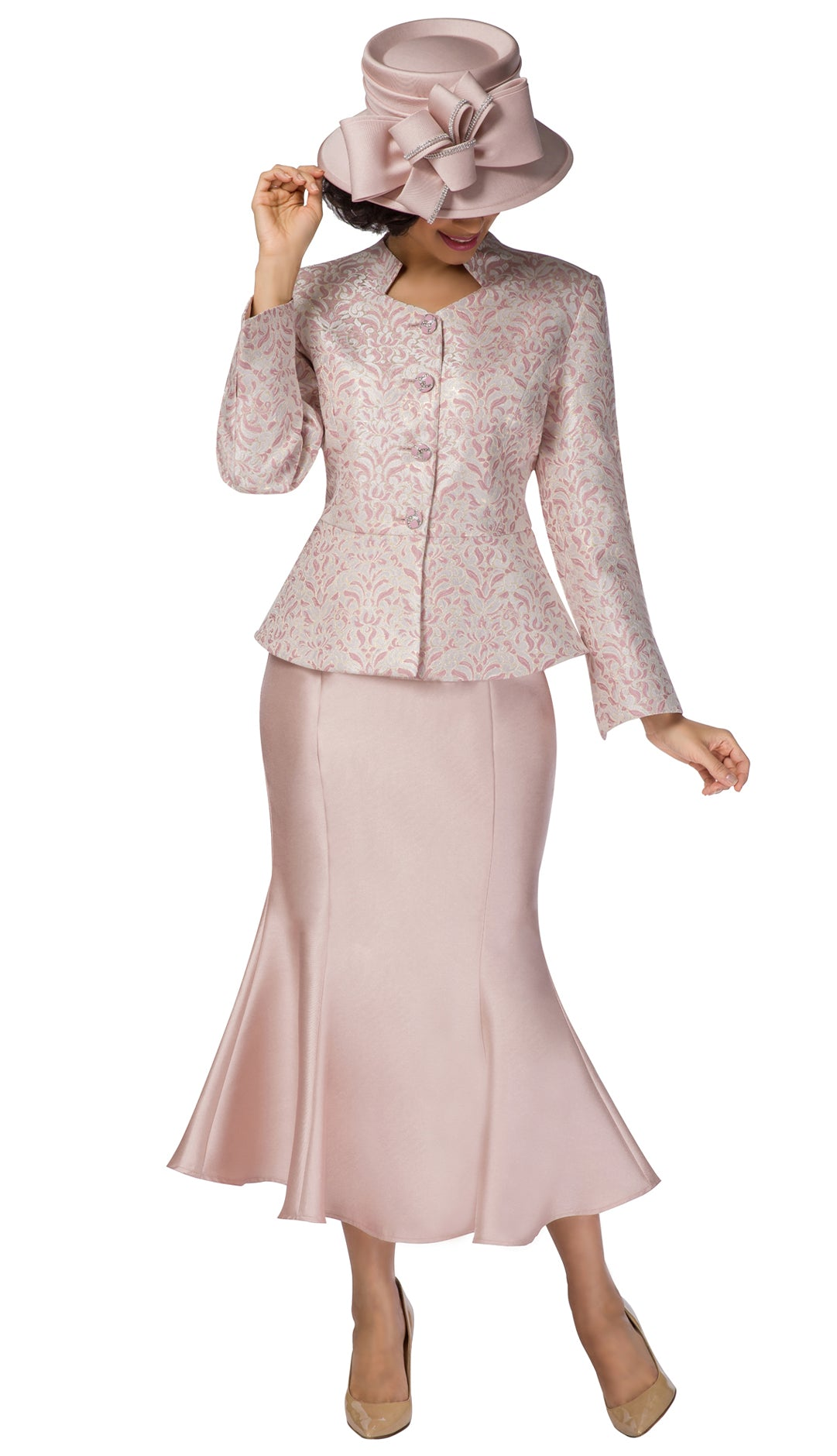 Giovanna Suit G1116-Pink/Gold - Church Suits For Less
