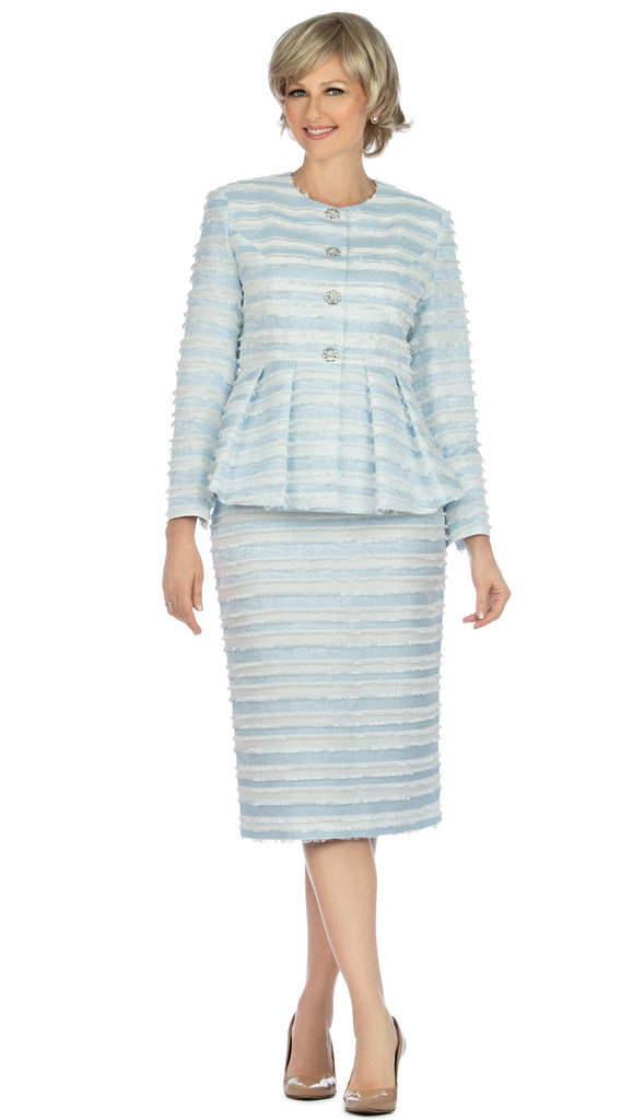 Giovanna Suit G1126-White/Blue - Church Suits For Less