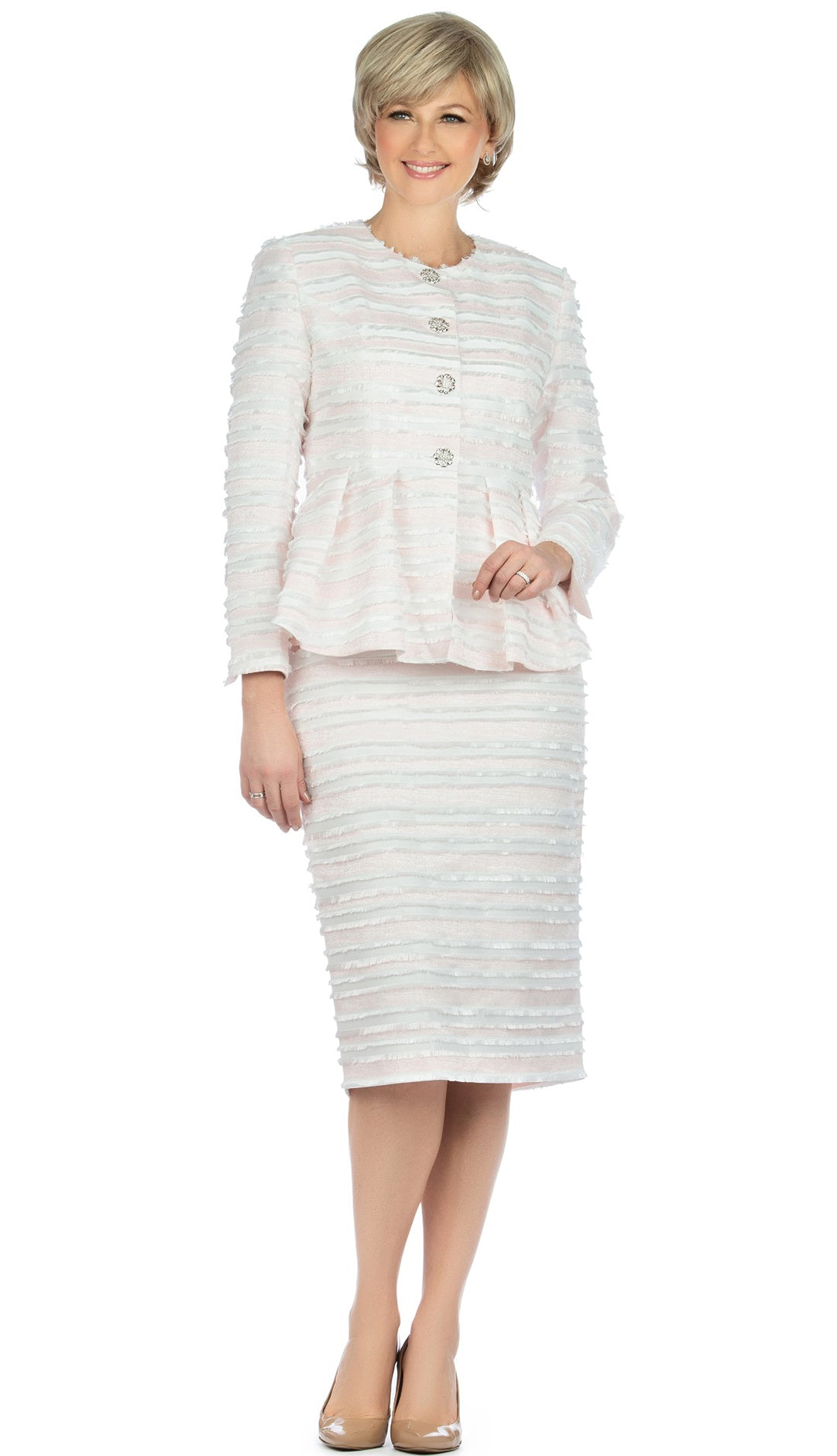 Giovanna Suit G1126-Pink/White - Church Suits For Less