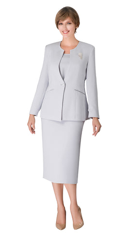 Giovanna Usher Suit 0708-Silver - Church Suits For Less