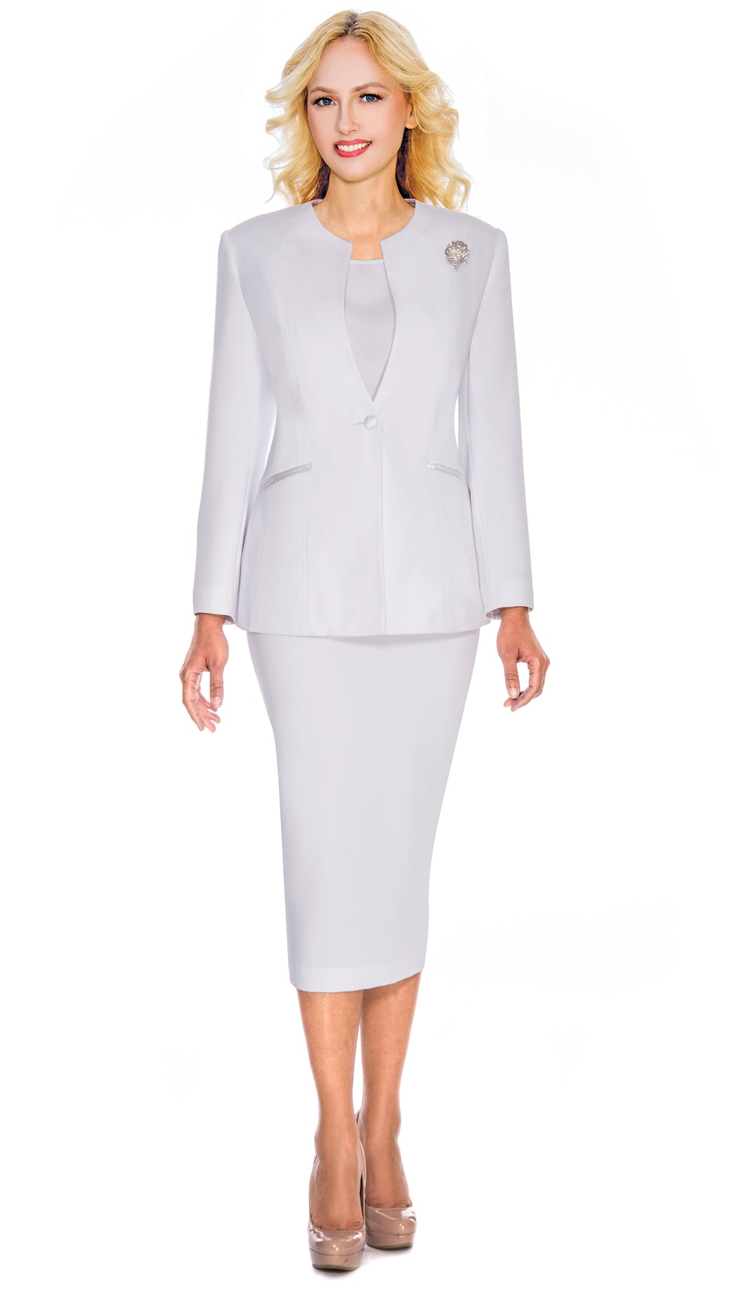 Giovanna Usher Suit 0708-White - Church Suits For Less