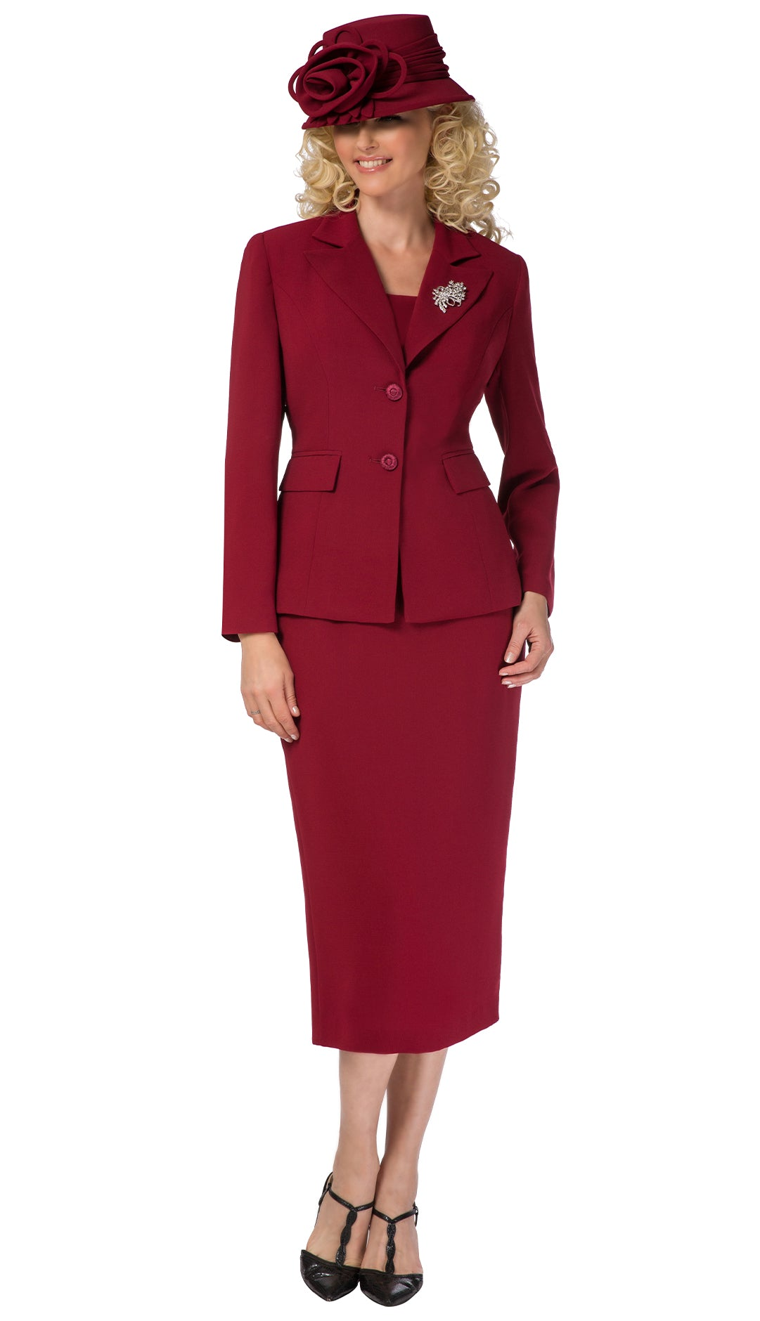 Giovanna Usher Suit 0710-Burgundy - Church Suits For Less