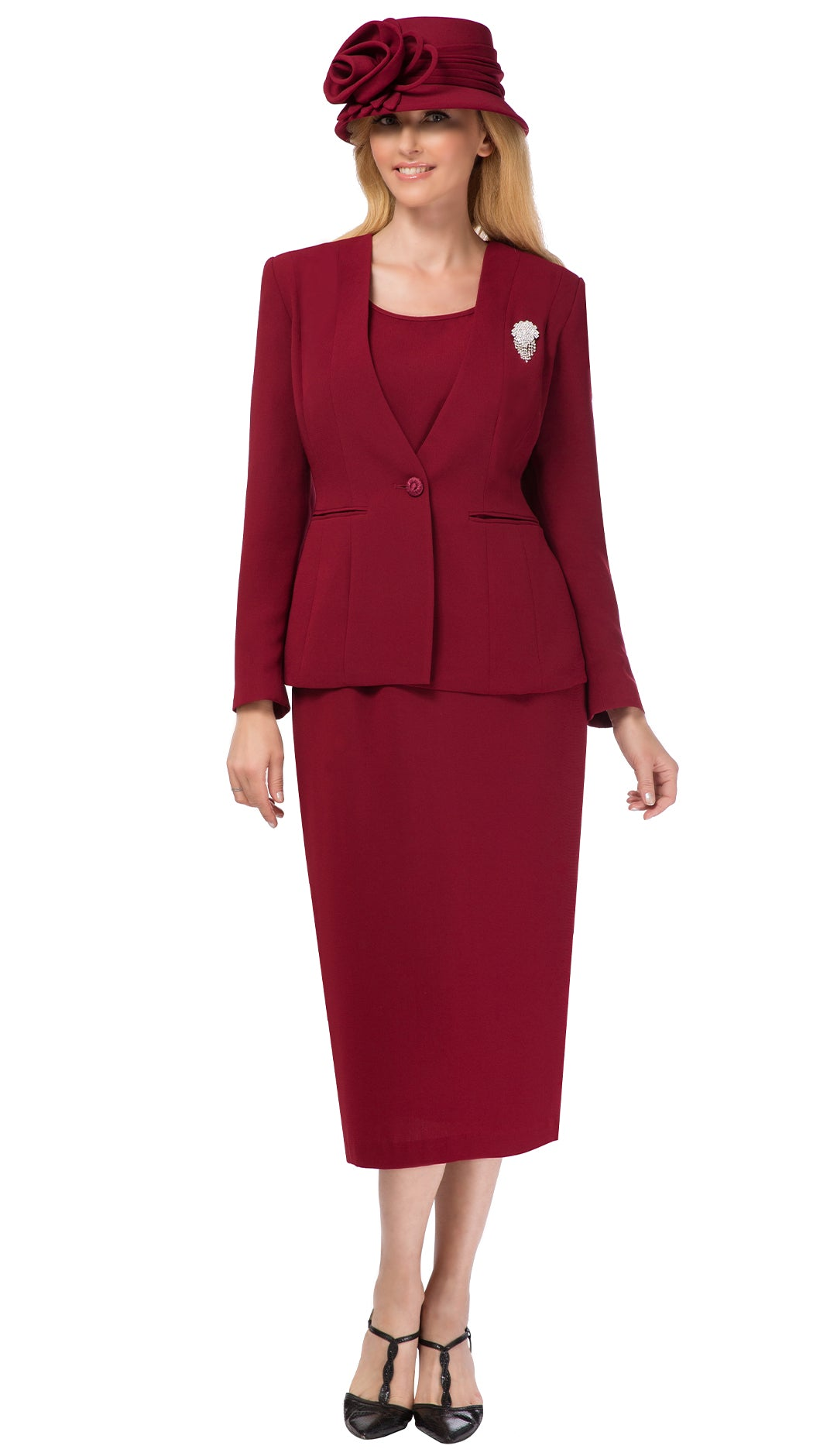 Giovanna Usher Suit 0825-Burgundy - Church Suits For Less