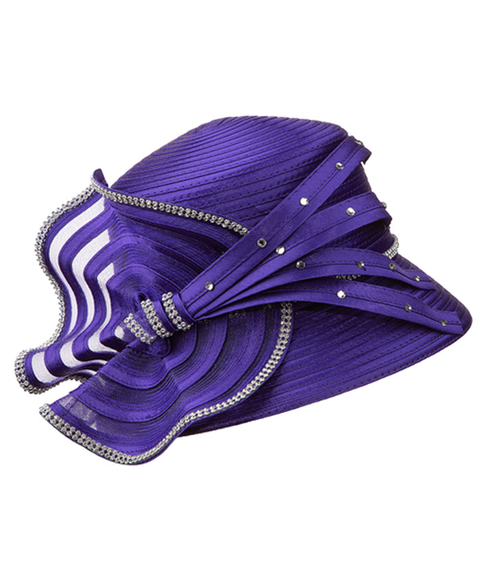 Giovanna Hat HR1058-Purple - Church Suits For Less