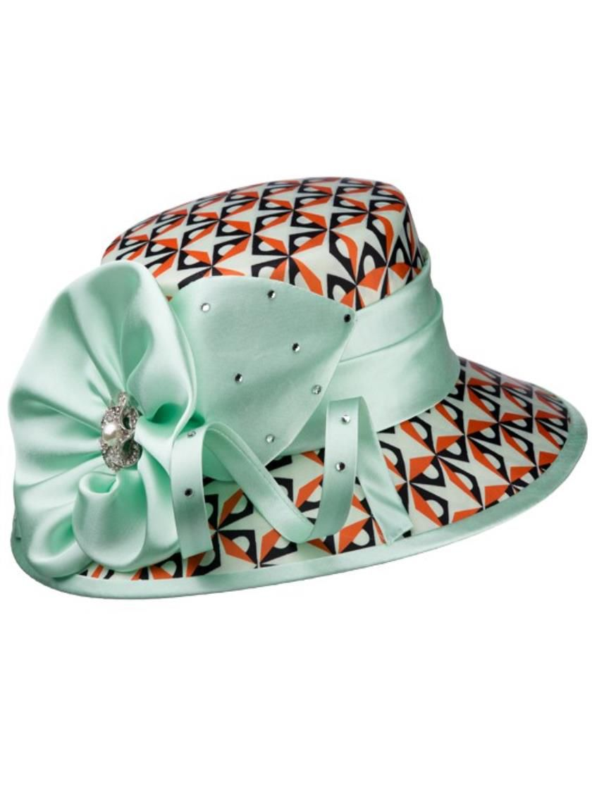 Giovanna Hat HD1341-Seafoam/Multi - Church Suits For Less