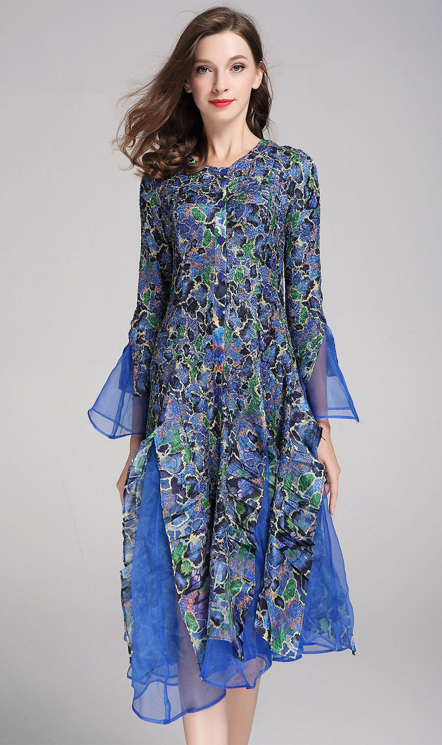 Jerry T Dress SR113-Blue/Flower - Church Suits For Less