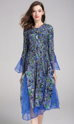 Jerry T Dress SR113-Blue/Flower