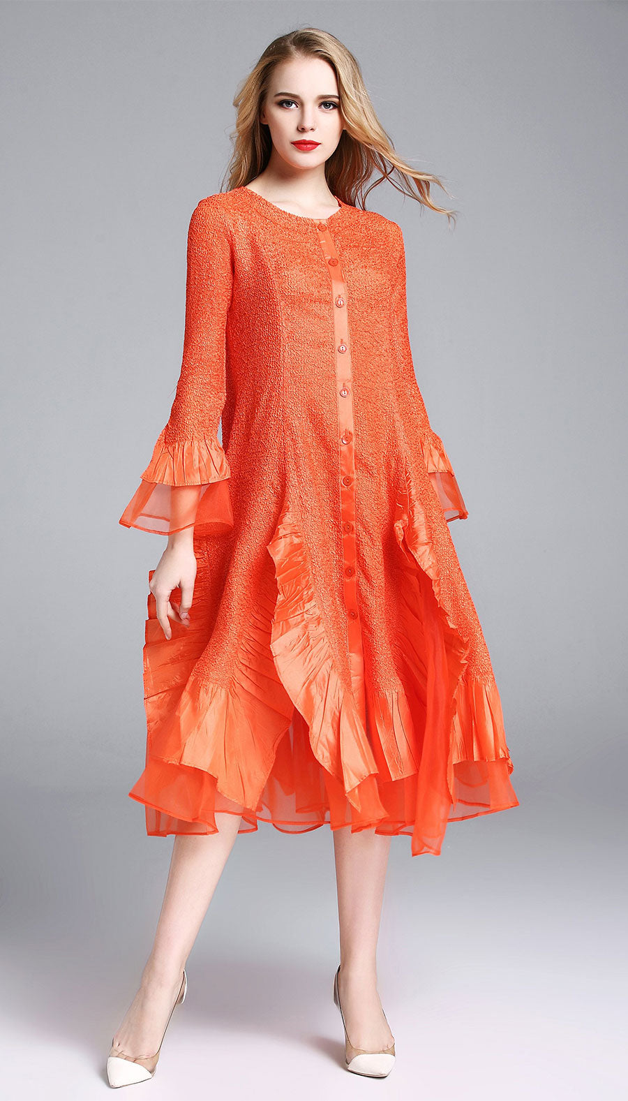 Jerry T Dress SR113-Orange - Church Suits For Less