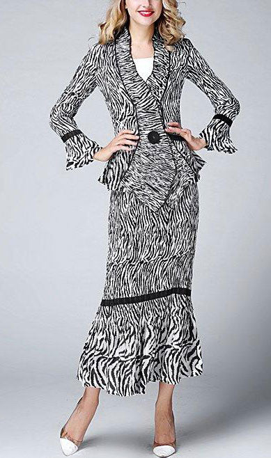 Jerry T Skirt Set SR1388-Zebra - Church Suits For Less