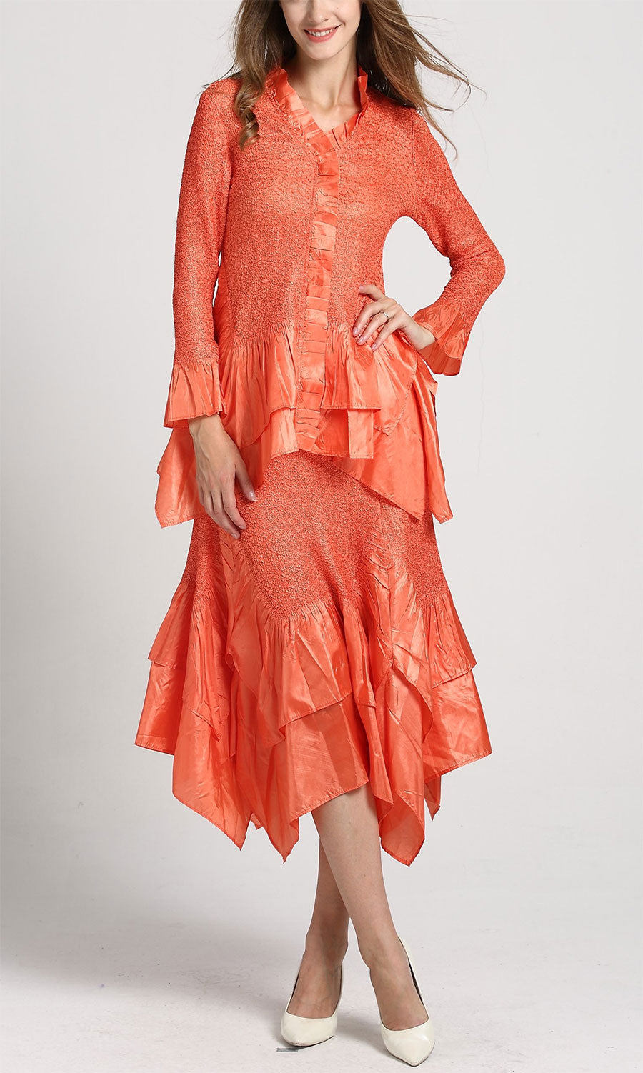 Jerry T Skirt Set SR7151-Orange - Church Suits For Less