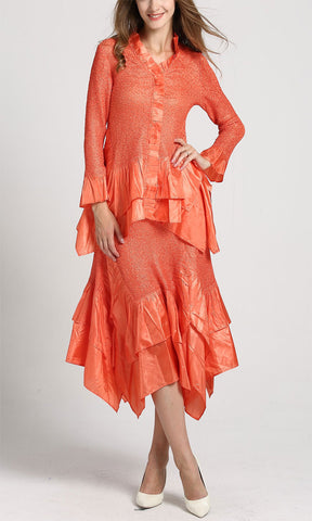Jerry T Skirt Set SR7151-Orange
