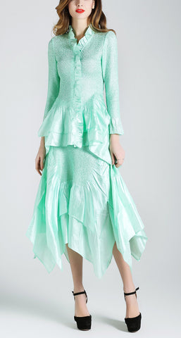 Jerry T Skirt Set SR7151-Aqua Green
