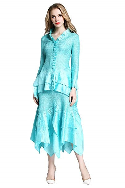 Jerry T Skirt Set SR7151-Aqua - Church Suits For Less