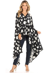 Karen T Designs Poncho 69006-Black/White Dots - Church Suits For Less