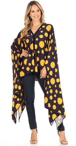 Karen T Designs Poncho 69006-Navy/Mustard - Church Suits For Less