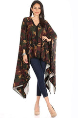 Karen T Designs Poncho 69006-Yellow/Camo - Church Suits For Less