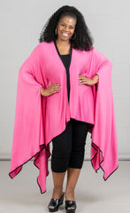 Karen T Designs Poncho 9006T-Pink/Black - Church Suits For Less