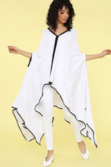 Karen T Designs Poncho 9006T-White/Black - Church Suits For Less