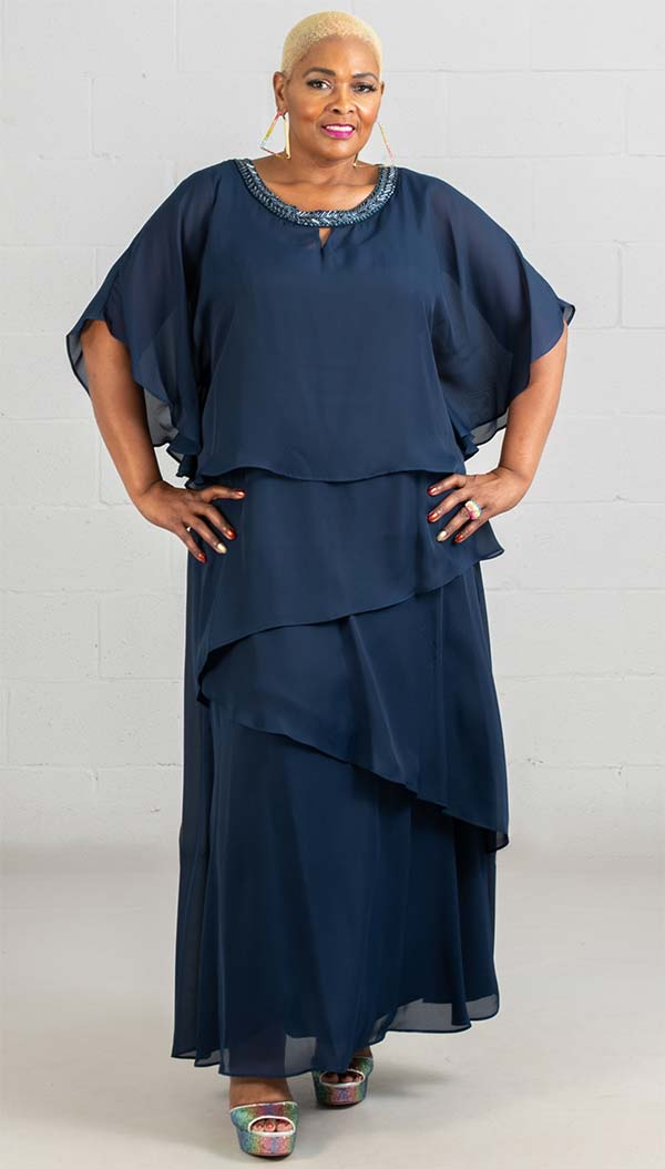 Le Bos Dress 27804W-Navy - Church Suits For Less