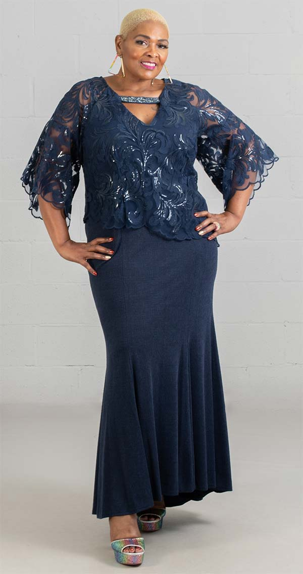 Le Bos Dress 27926W-Navy - Church Suits For Less