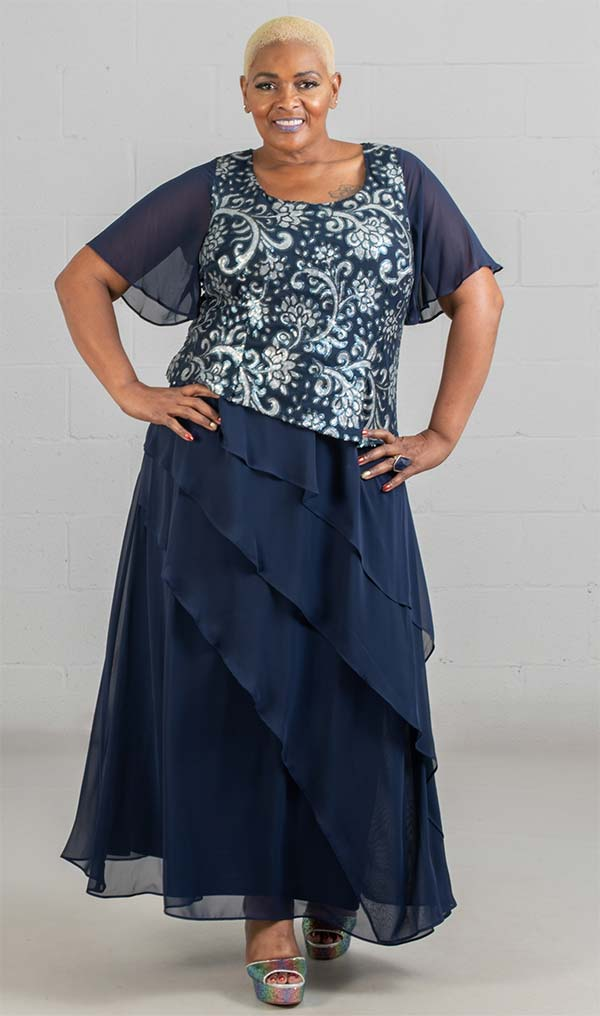 Le Bos Long Dress 27978W-Navy/Silver - Church Suits For Less