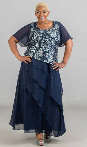 Le Bos Long Dress 27978W-Navy/Silver