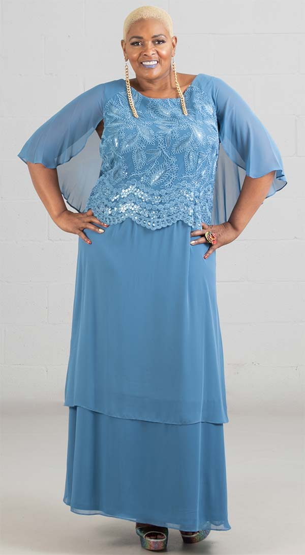 Le Bos Dress 29057W-Blue Tone - Church Suits For Less