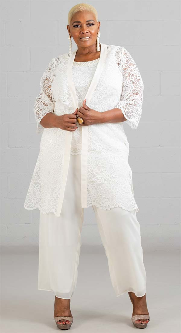 Le Bos Pant Suit 29081-Ivory - Church Suits For Less