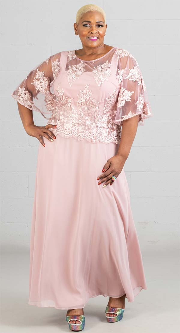 Le Bos Dress 29129W-Rose - Church Suits For Less