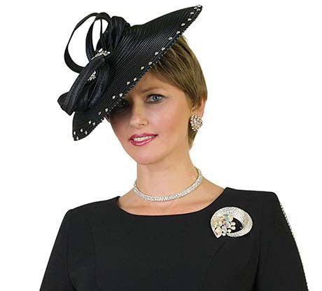 Lilly And Taylor Church Hat H260-Black - Church Suits For Less