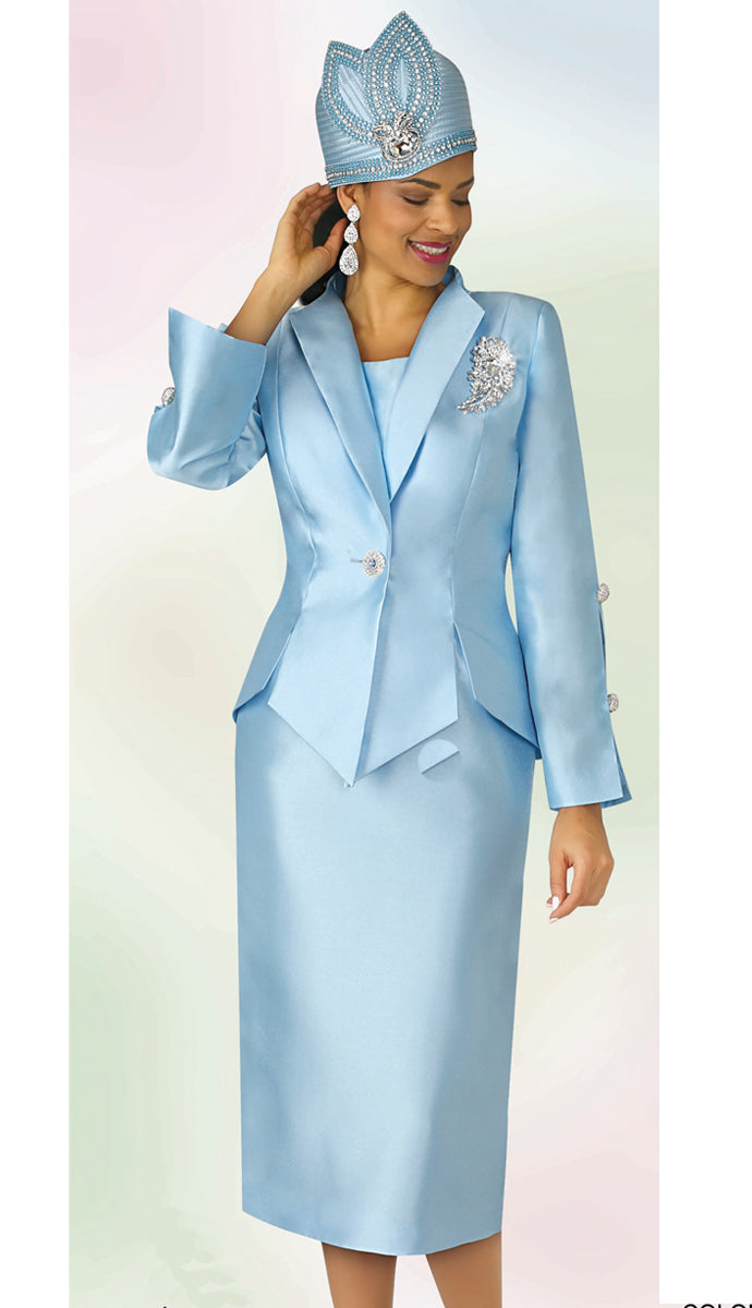 Lily and Taylor Suit 4343-Ice Blue - Church Suits For Less
