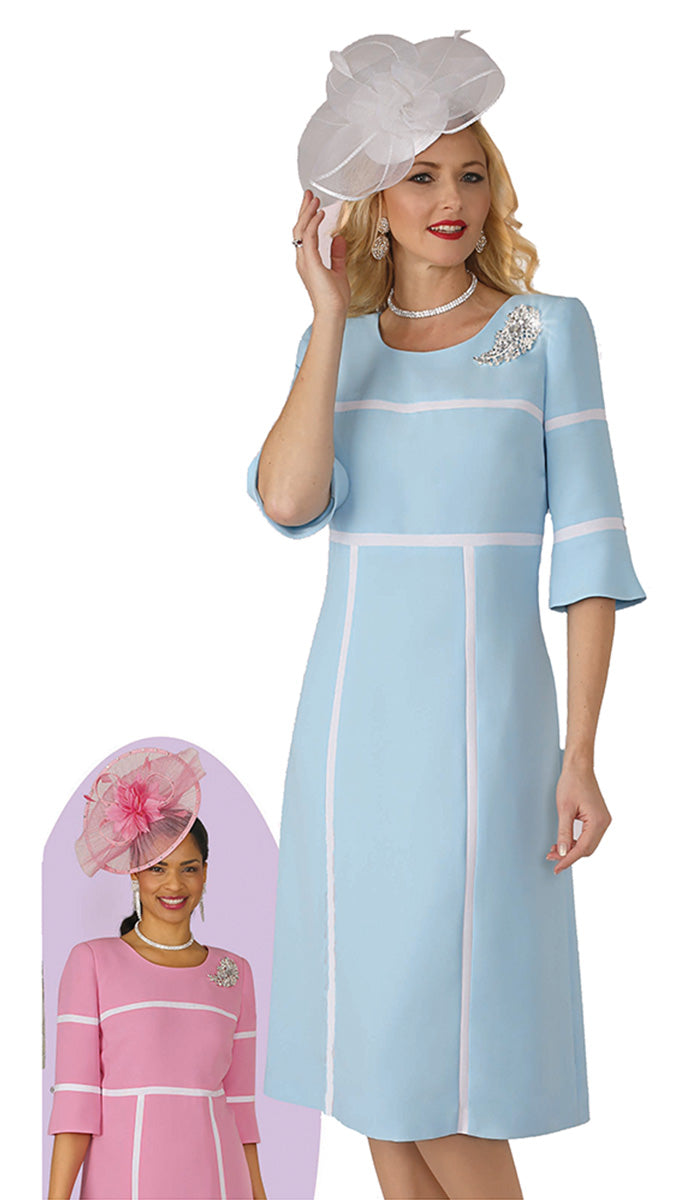Lily and Taylor Dress 4344C-Ice Blue - Church Suits For Less