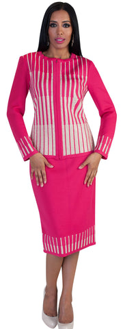 Liorah Exclusive Knit 7213-Fuchsia/Gold - Church Suits For Less