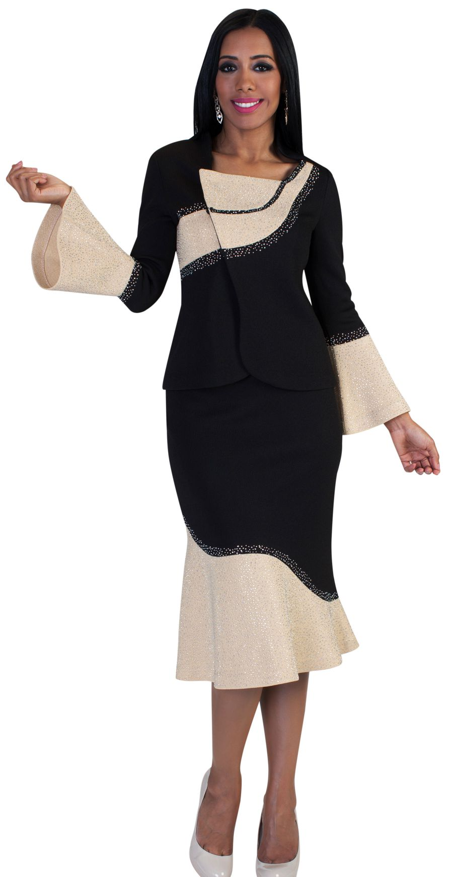Liorah Exclusive Knit 7231-Black/Gold - Church Suits For Less