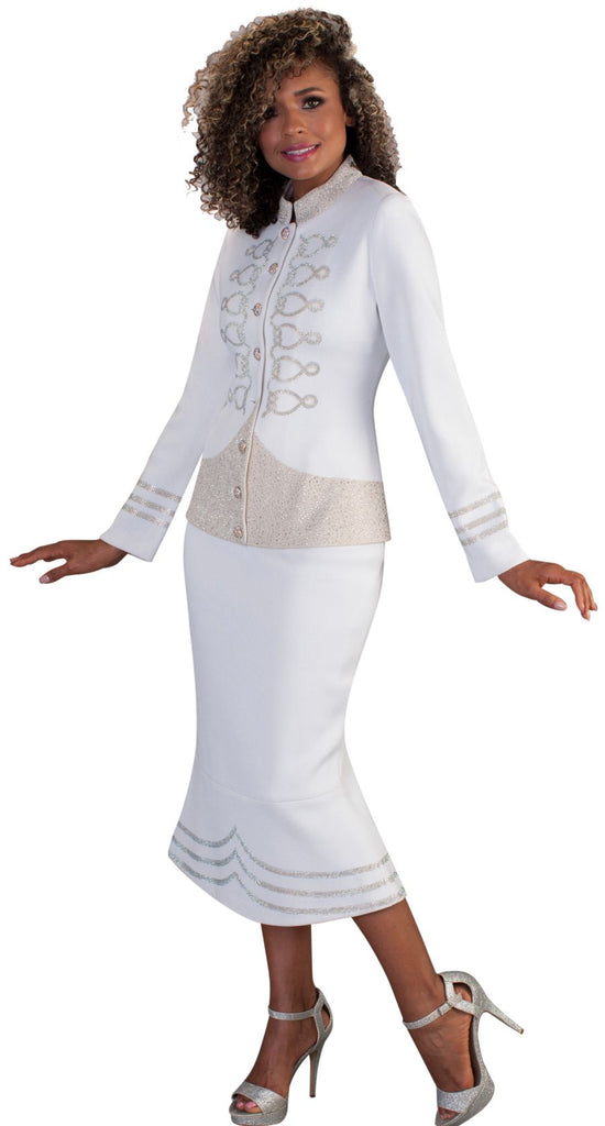 Liorah Exclusive Knit 7232-White/Gold - Church Suits For Less