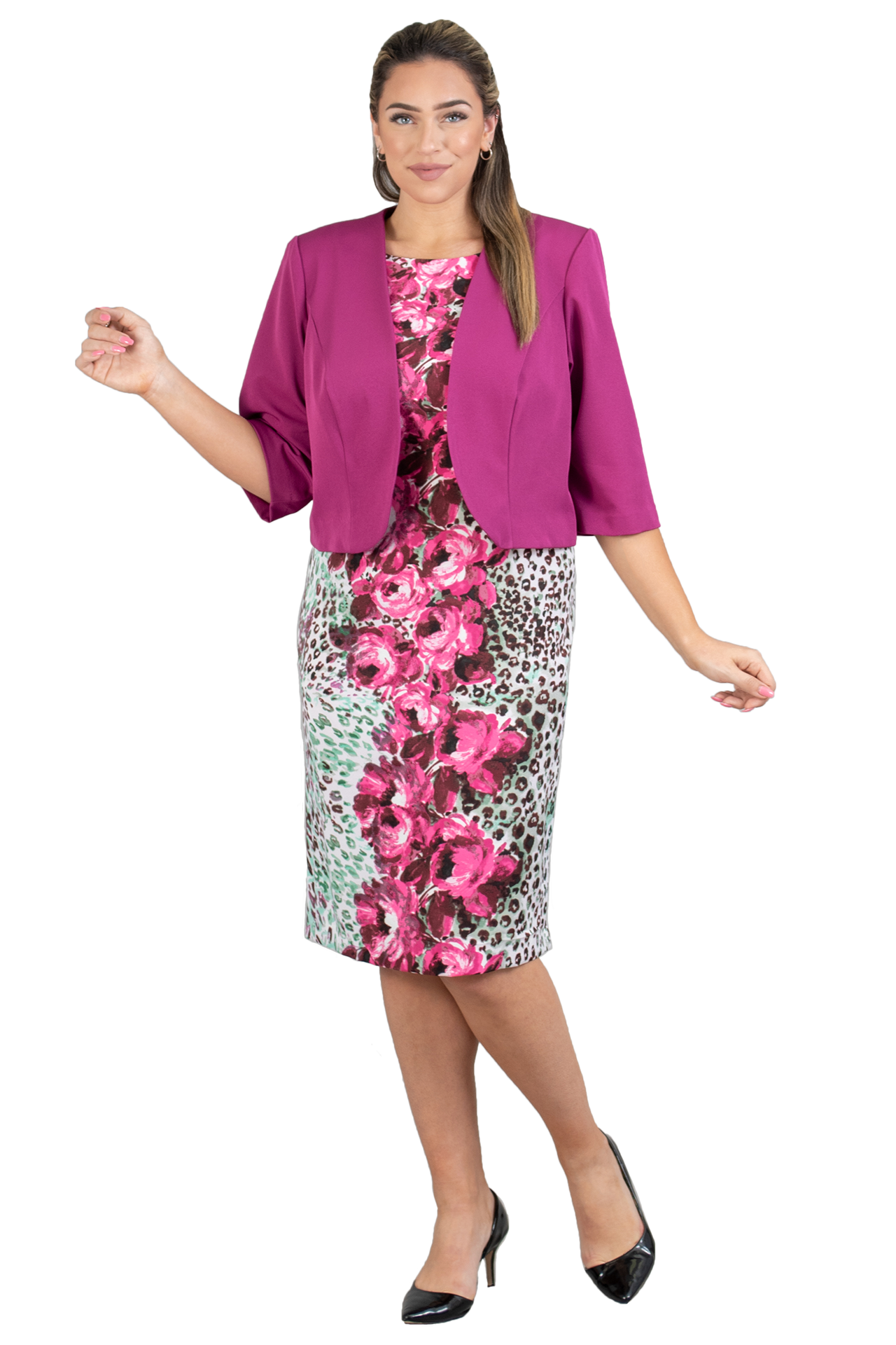 Maya Brooke Jacket Dress 27703-Berry - Church Suits For Less