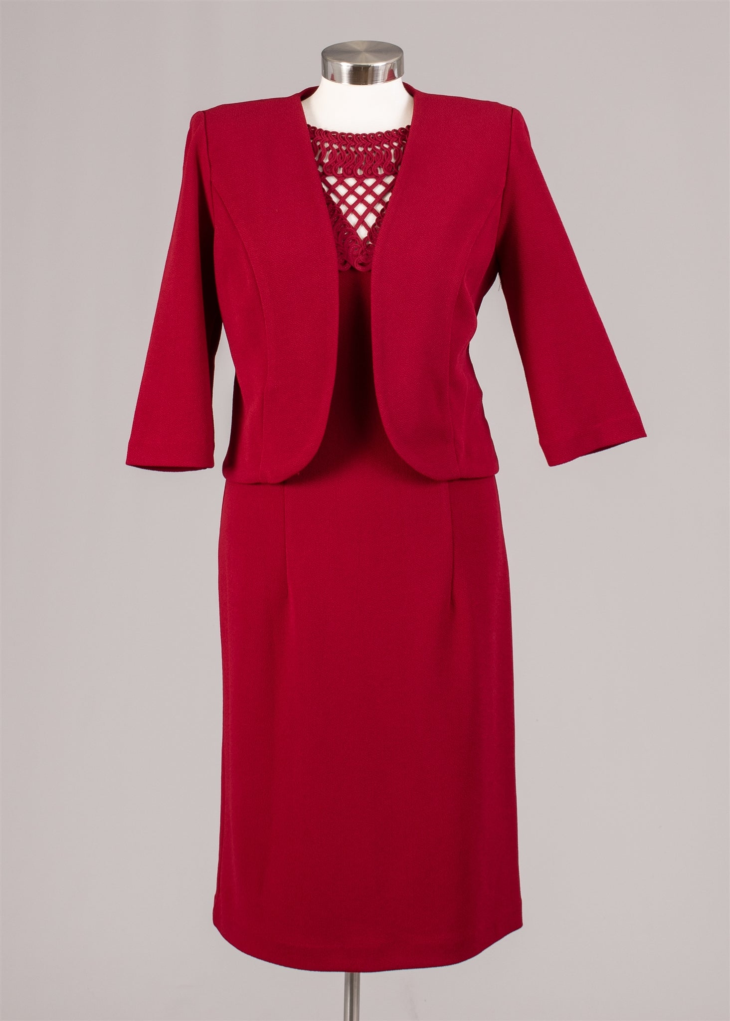 Maya Brook Jacket Dress  28041-Red - Church Suits For Less