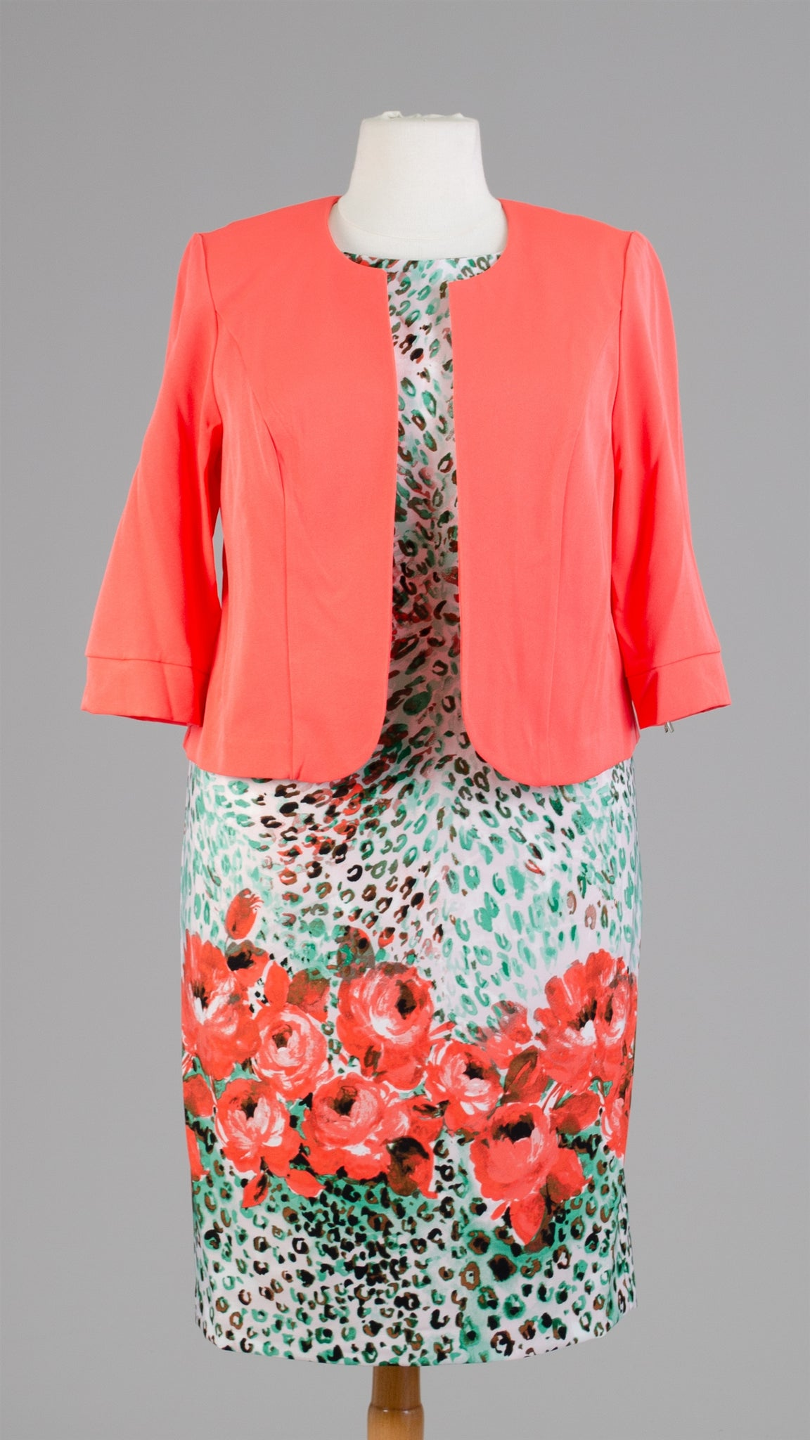 Maya Brook Jacket Dress 28042-Coral Multi - Church Suits For Less