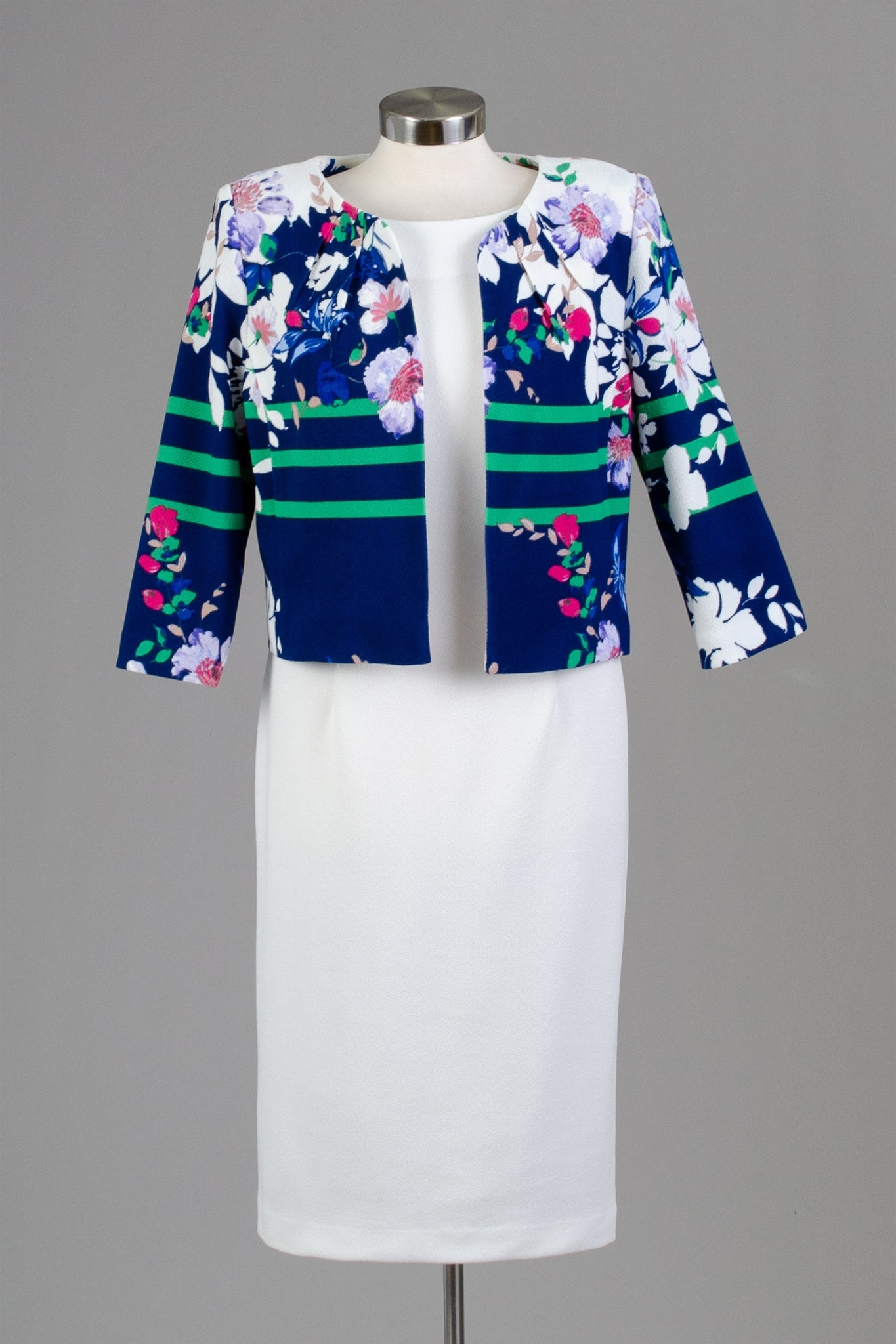 Maya Brook Jacket Dress 28050-Navy/White - Church Suits For Less