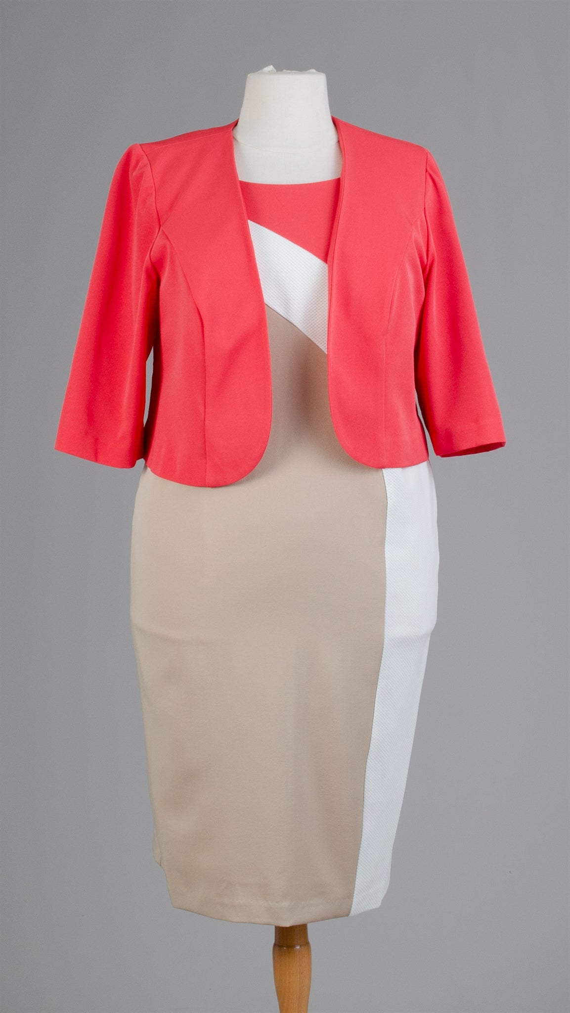 Maya Brook Jacket Dress 29061-Coral/Beige - Church Suits For Less