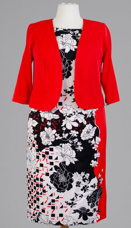 Maya Brooke Jacket Dress 29052-Red/Black - Church Suits For Less