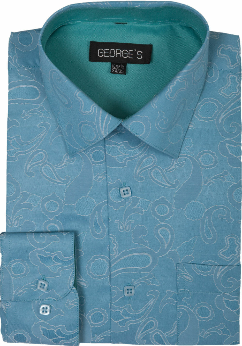 Men Shirt AH625-Turquoise - Church Suits For Less