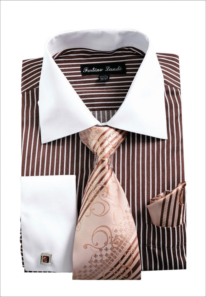 Men Shirt FL631-Brown - Church Suits For Less