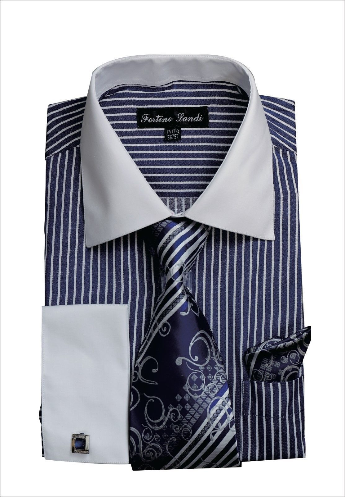 Men Shirt FL631-Navy - Church Suits For Less
