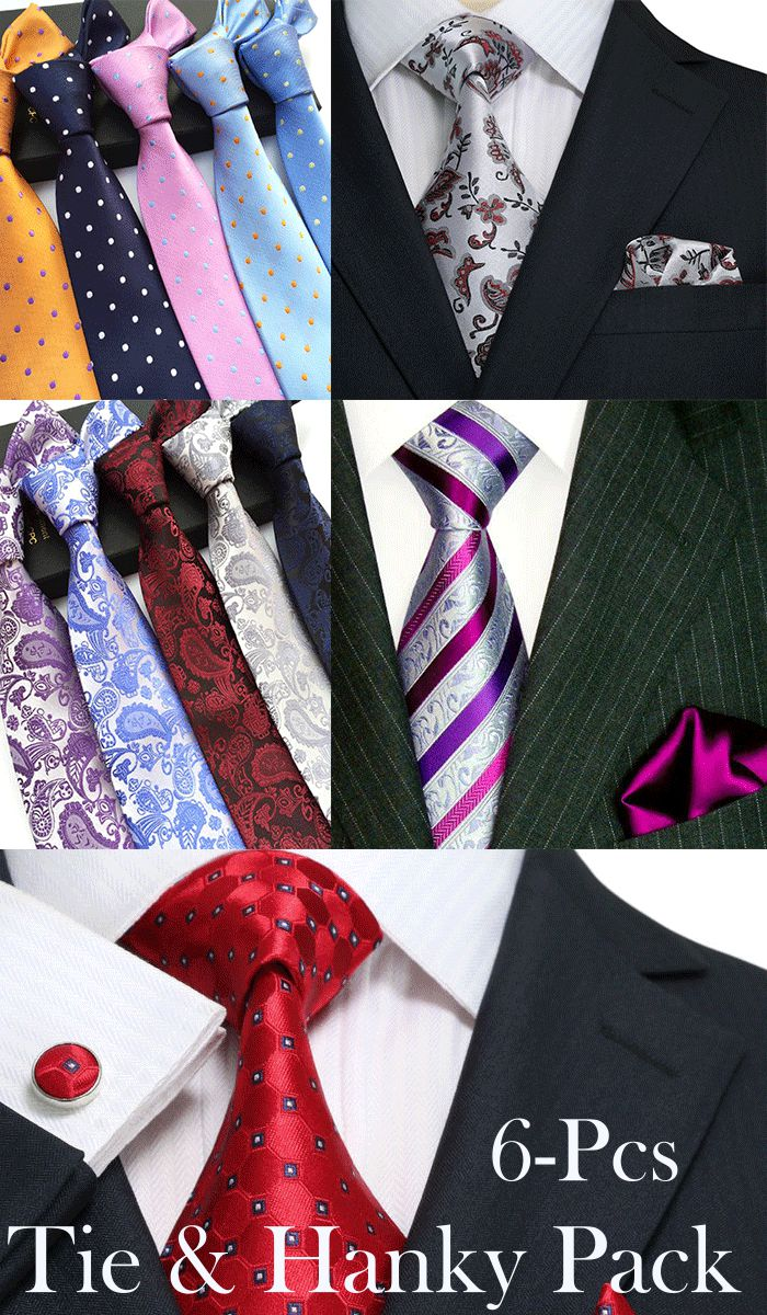 Men Tie & Hanky Assorted 6-Pcs Pre-Pack - Church Suits For Less