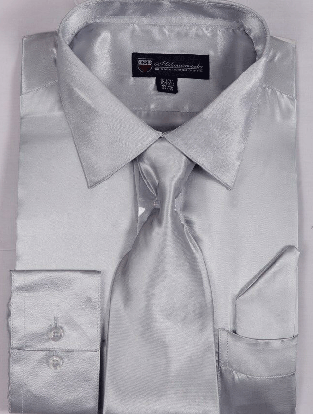 Milano Moda Shirt SG08-Silver - Church Suits For Less